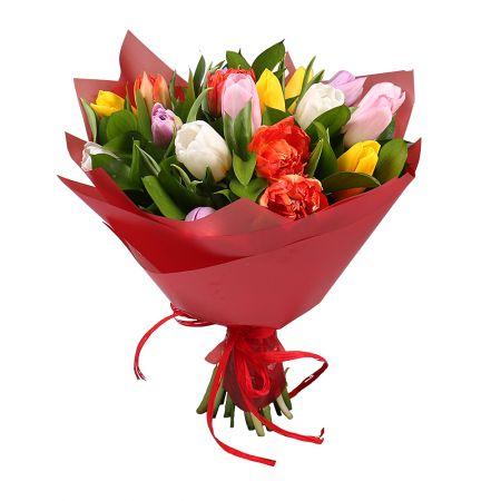 Bouquet 19 multi-colored tulips