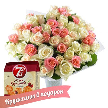 Bouquet Сreamy tenderness (+croissants as a gift)