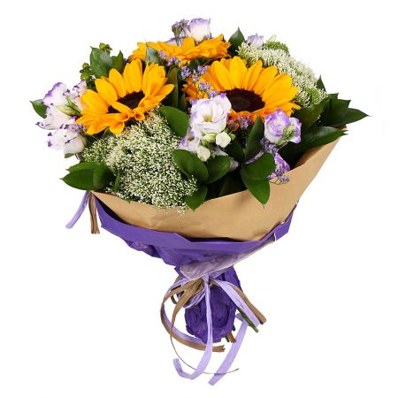 Bright beautiful bouquet of sunflowers 'Summer Symphony' to buy with delivery