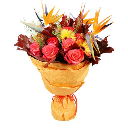 boquet Gold in Fall, autumn bouquet, yellow bouquet, bouquet of roses and gerberas