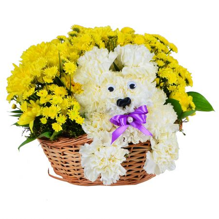 Basket of flowers, flower composition, flower toy, flower puppy, flowers for child, cute bouquet, cu